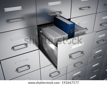 archive ring binders cabinet - stock photo