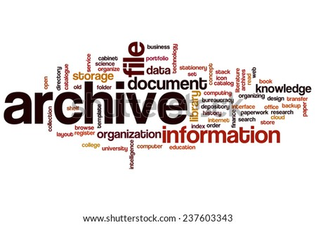 Archive word cloud concept - stock photo