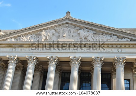 Archives of the United States of America architecture detail - stock photo