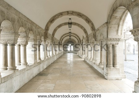 Archway at Fisherman's Bastion, Budapest, Hungary - stock photo