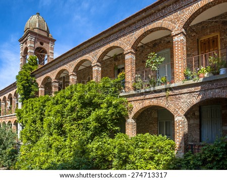 Archway balustrade in an historic monastry in Greece - stock photo