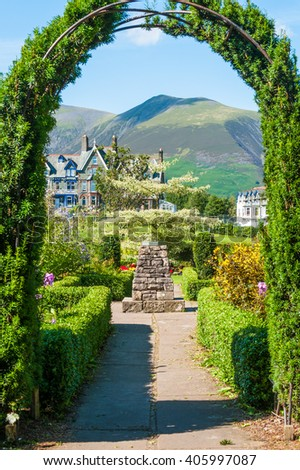 Archway in ornamental gardens, Keswick Gardens, Keswick, Cumbria - stock photo