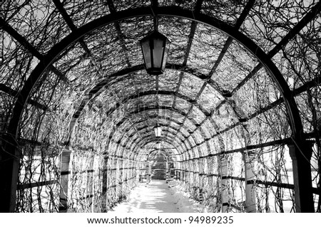 Archway in winter. - stock photo