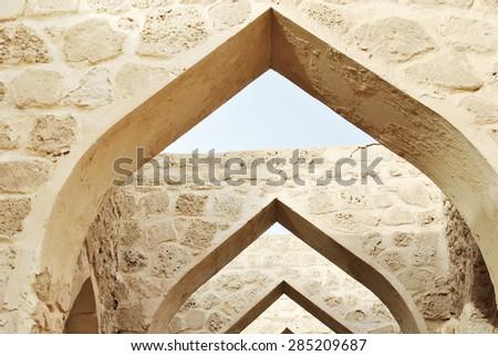 Archway inside Bahrain fort, Manama - stock photo