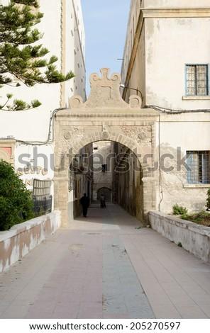 Archway with jewish symbols in Essaouira Morocco - stock photo