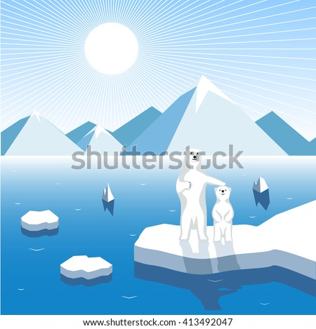 Arctic bear-cub with a female bear on a block of ice, artistic illustration - stock photo