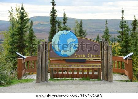 arctic circle sign - stock photo