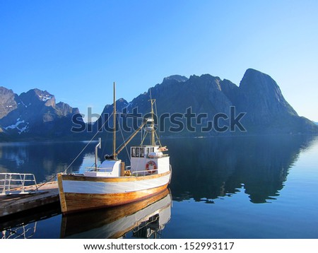 Arctic fishing village scenery of Lofoten Island in Norway - stock photo