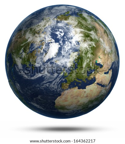 Arctic map from space white isolated. Earth globe model, maps courtesy of NASA - stock photo