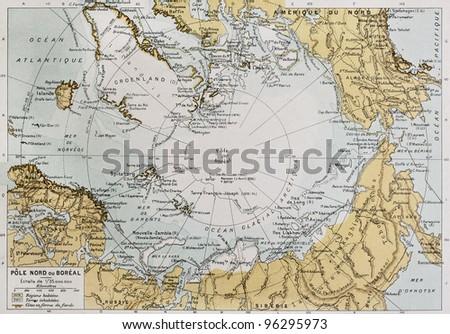 Arctic old map. By Paul Vidal de Lablache, Atlas Classique, Librerie Colin, Paris, 1894 - stock photo