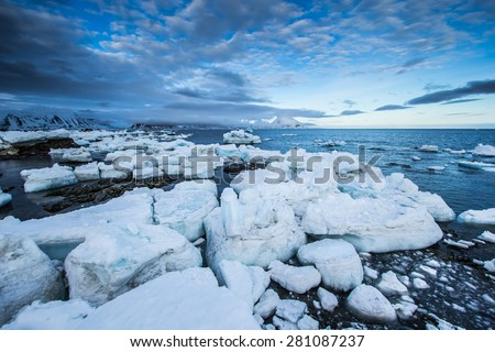 Arctic spring in south Spitsbergen.  - stock photo