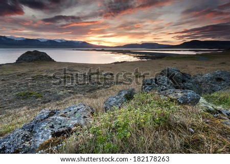 Arctic sunset in South Iceland.Close to Reykjavik city/Arctic sunset - stock photo