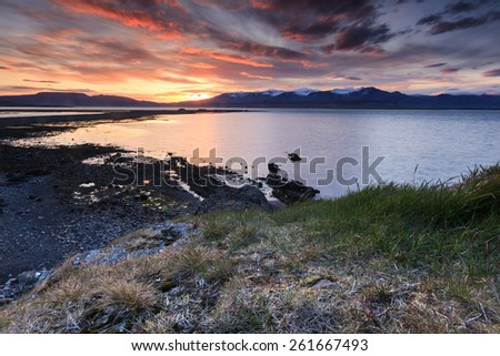 Arctic sunset in South Iceland.Close to Reykjavik city. Hvalfjordur/ Arctic sunset - stock photo