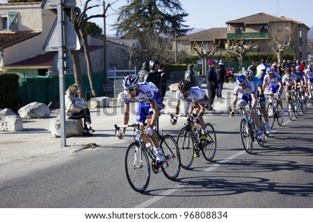 """ARDECHE, FRANCE - FEB 26: Jeremy Roy and Jean-Christophe Peraud in the UCI Europ TOUR """"LES BOUCLES DU SUD ARDECHE"""". Remi Pauriol wins the race on February 26, 2012 in Sampzon Rock, Ardeche, France. - stock photo"""