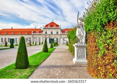 Area of the park-garden complex Belvedere.Vienna. Austria. - stock photo