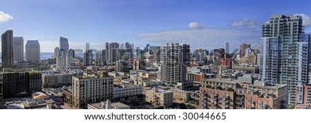 Areal panoramic view of a business downtown - stock photo