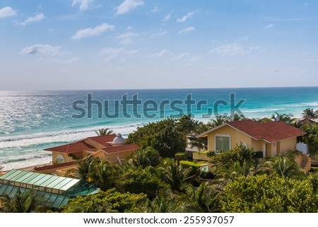 Areal view of resort zone and ocean in Cancun, Mexico - stock photo