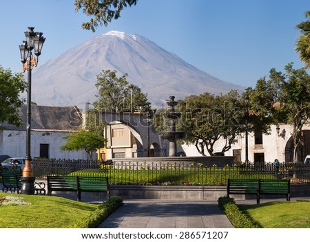 Arequipa, Peru:  View of the Misti volcano from the Caima park in the Caima town. - stock photo