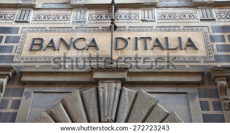 AREZZO, ITALY - JANUARY 12, 2014:  the Bank of Italy palace facade , ancient Art Nouveau building in the medieval old town - stock photo