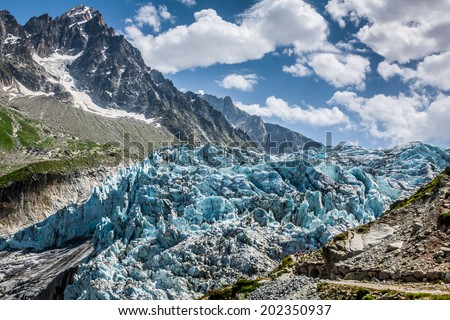 Argentiere Glacier in Chamonix Alps, Mont Blanc Massif, France. - stock photo