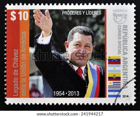 ARGENTINA - CIRCA 2014: A stamp printed in Argentina shows Hugo Rafael Chavez (1954-2013), President of Venezuela, circa 2014  - stock photo