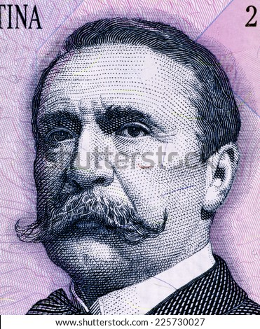 ARGENTINA - CIRCA 1993: Carlos Pellegrini (1846-1906) on 1 Peso 1993 Banknote from Argentina. President of Argentina during 1890-1892. - stock photo