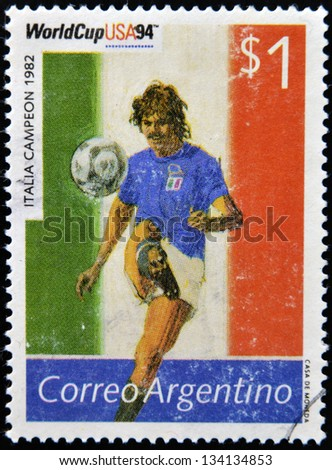 ARGENTINA - CIRCA 1994: Stamp printed in Argentina dedicated to the football world cup USA 1994, shows the world champion Italy, 1982, circa 1994 - stock photo