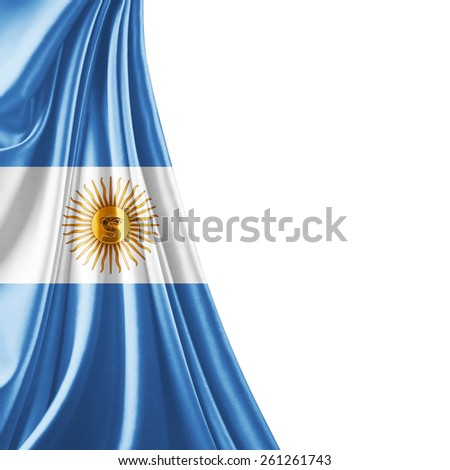 Argentina flag and white background - stock photo