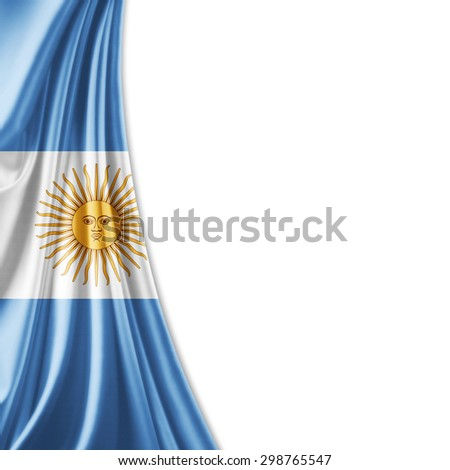 Argentina  flag of silk with copyspace for your text or images and white background - stock photo