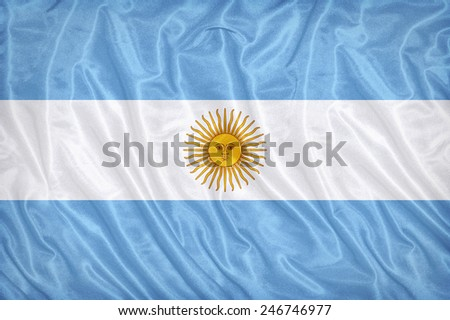 Argentina flag pattern on the fabric texture ,vintage style - stock photo