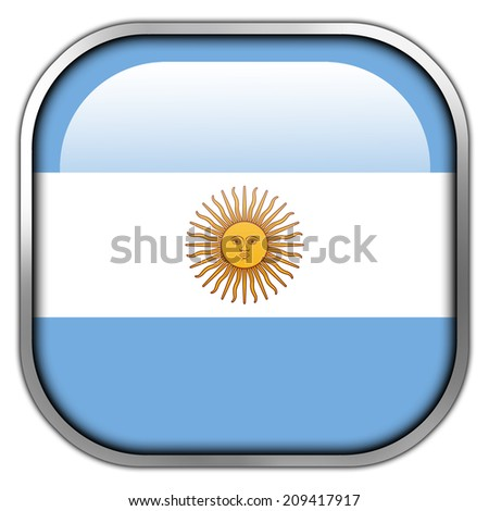 Argentina Flag square glossy button - stock photo