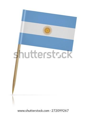 Argentina flag toothpick on white background - stock photo