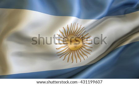 Argentina flag waving in the wind 3d rendering - stock photo