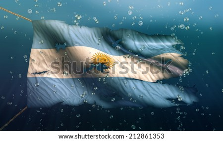 Argentina Under Water Sea Flag National Torn Bubble 3D - stock photo