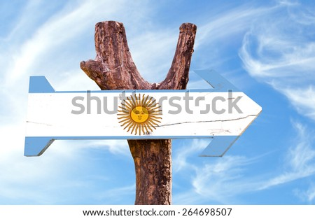 Argentina wooden sign with sky background - stock photo
