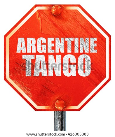 Argentine tango, 3D rendering, a red stop sign - stock photo