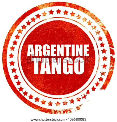 Argentine tango, grunge red rubber stamp with rough lines and ed - stock photo