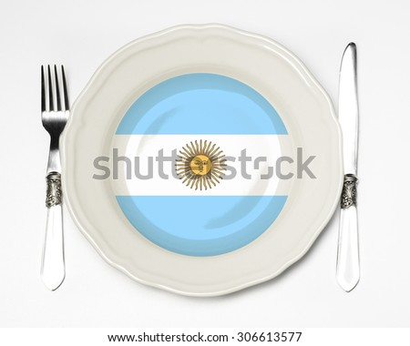 Argentinian flag plate - stock photo