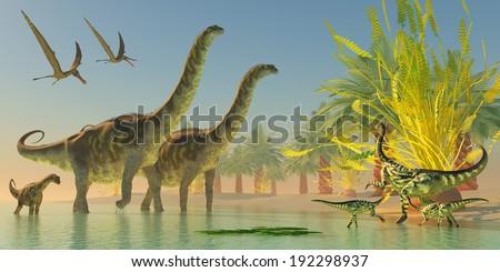 Argentinosaurus in Lake - A mother Deinocheirus dinosaur and two Anhanguera watch as Argentinosaurus make their way through swallow lake waters. - stock photo