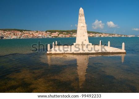 Argostoli Obelisk on the island of Cephalonia - stock photo