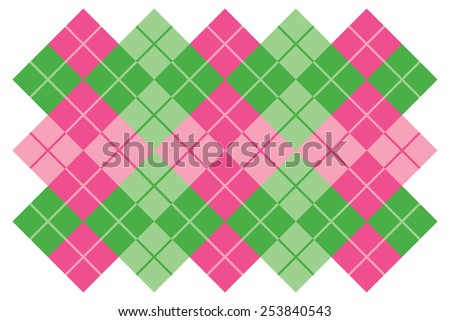 Argyle layout design in green and pink. - stock photo