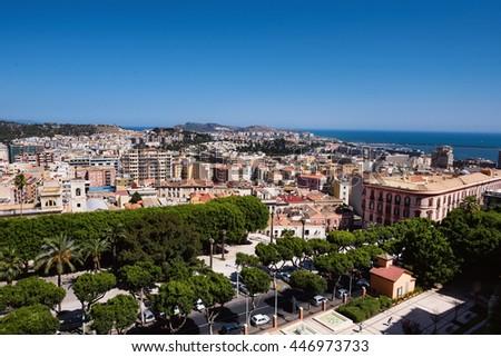Arial Cagliari panoramic view  - stock photo