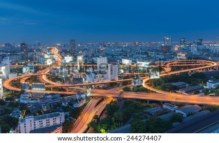 Arial view of Bangkok city express way at night - stock photo