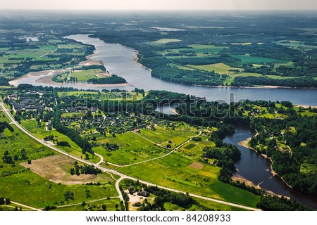 Arial view over small village - stock photo