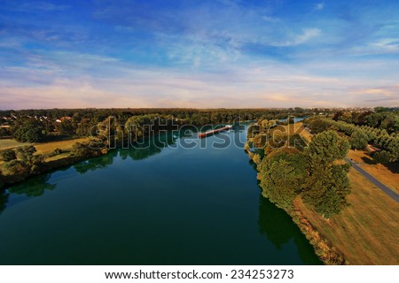 arial view over the river - stock photo