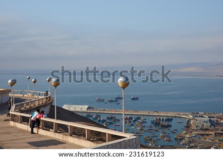 ARICA, CHILE - OCTOBER 11, 2014: View over the coastal city of Arica in northern Chile from the Morro de Arica - stock photo