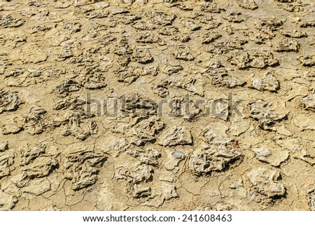 arid ground - Land with waterless - dry drought, and cracked ground  - stock photo