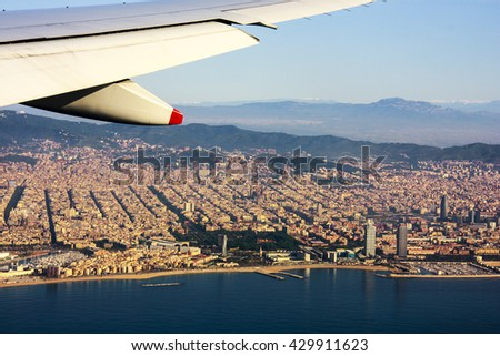 Ariel vie of  Barcelona  -  Spain  - stock photo