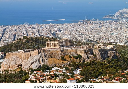 Ariel view of Athens with the Acropolis from Mount Lycabettus, Greece. - stock photo