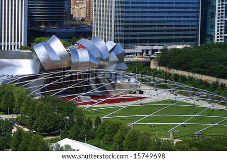 Ariel view of Pritzker Pavilion in Chicago Illinois - stock photo